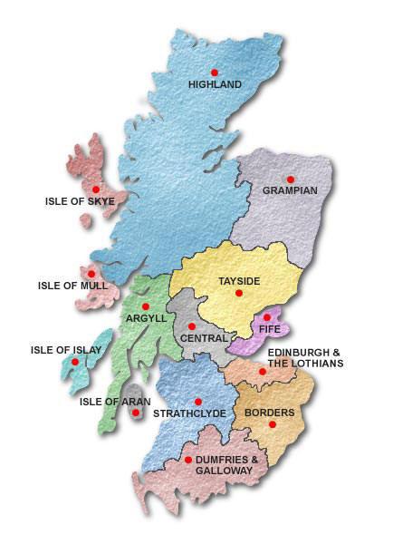 Cartina Stradale Della Scozia.Divisione Amministrativa Della Scozia
