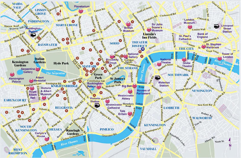 Mappa londra cartina di londra - Londra punti d interesse ...