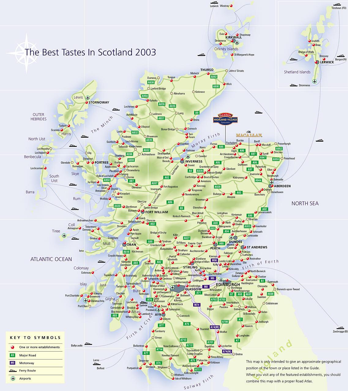 Scozia Cartina Stradale.Mappa Scozia Cartina Della Scozia